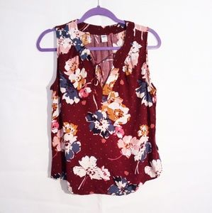 Old Navy Floral Burgundy And Blue Tank Top